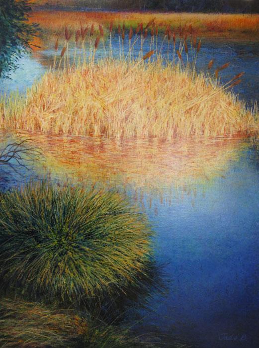 "Blue Swan Lake 48""x36"""