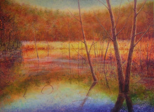 "Autumn Lake Stillness 36""x48"""